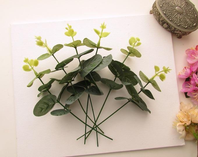 6 Artificial Eucalyptus stems  Faux silk eucalyptus branches Artificial eucalyptus green foliage  DIY flower crafts flower wreaths, crowns