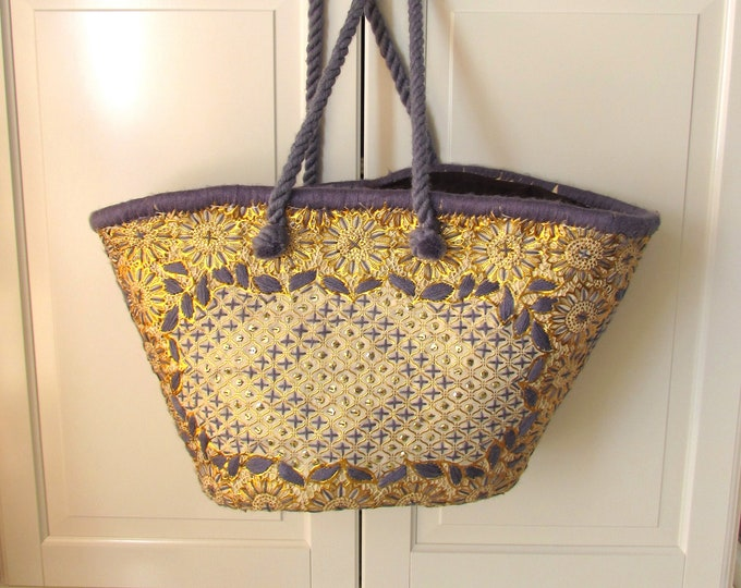 Grey Gold straw shoulder bag, Ibiza style bohemian beach basket, Ethnic beach bag embroidered by hand, Beach basket, Holiday shoulder bag