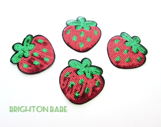 Strawberry sequin iron-on patch. Iron patch. Summer iron on applique, Strawberry iron on patch for clothes
