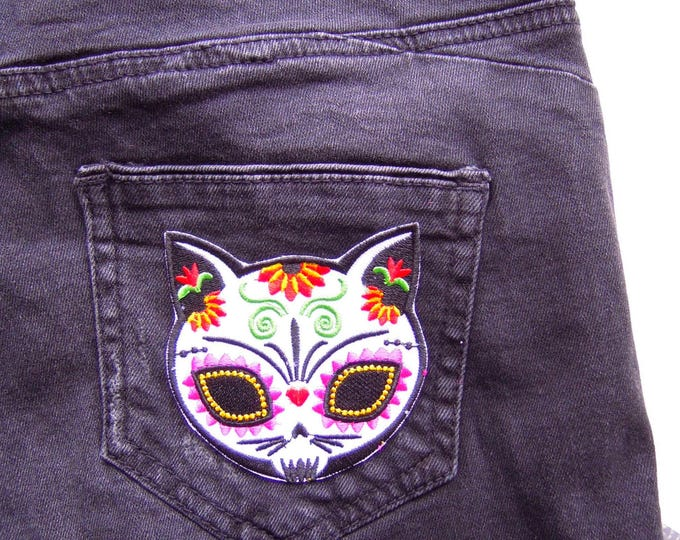 Cat iron patch - Sugar Skull cat iron on patch - Mexican sugar skull tattoo cat - Cat iron patch - Cool cat patch - Day of the dead patch