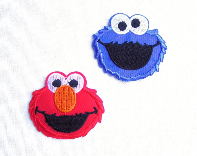 Set of 2 kid's iron on patches Elmo and Cookie Monster - Sesame street iron appliques -  Iron on patches for children