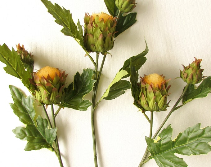 Artificial giant thistle single sprays with foliage on a realistic stem, Rustic autumn flowers, Large fall flowers