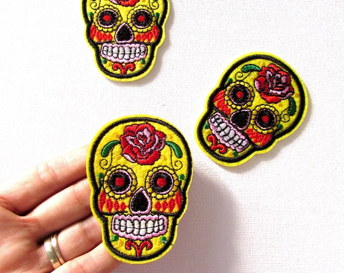 Yellow Mexican sugar skull iron-on patches, Dia de los Muertos yellow sugar skull, Yellow iron on patch, Skeleton patches