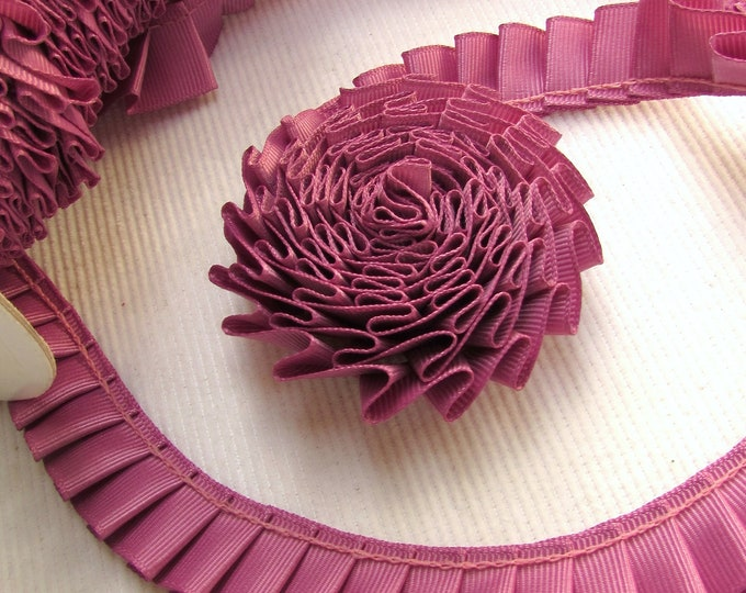 Magenta pleated trim, Ruffled grosgrain trim mauve, Gathered ribbon trim, Box pleat trim dusk pink, Pleated ribbon by the yard