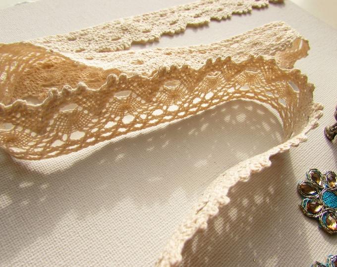 Cream cotton lace trim 28mm  Cream cotton border  Crochet cream lace  Vintage style beige lace trim sold by the yard