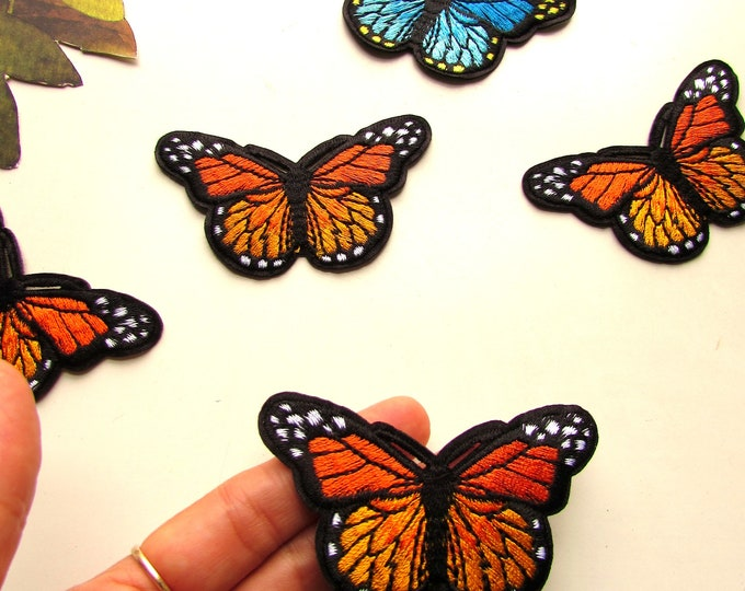Orange butterly iron on patch, Monarch butterfly Iron on patch, Embroidered iron on patches, Butterfly iron on applique, Autumn patches