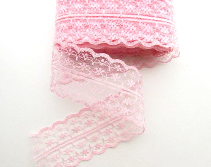 """2.5 yds PINK burlap lace trim - Candy pink lace ribbon - Pink lace ribbon - Pink lace edging - Burlap pink lace - Lace by the yard 1 3/4"""""""