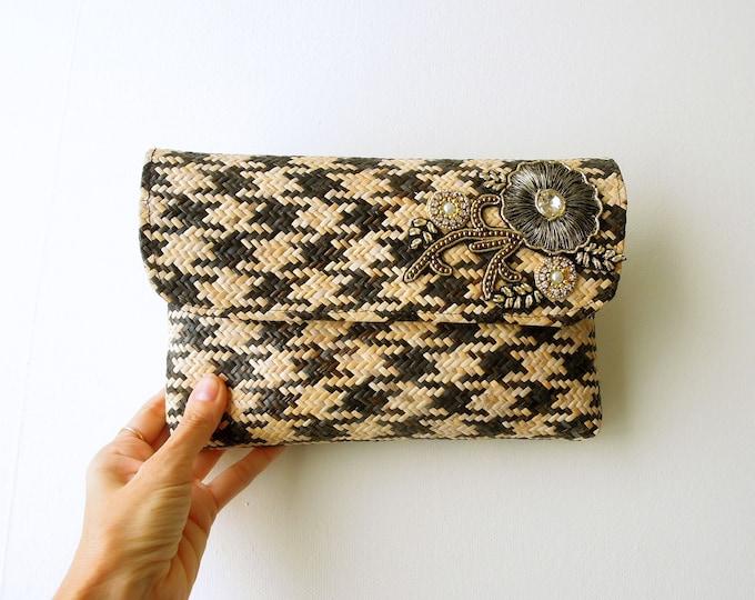 Rattan clutch handbag  Wicker clutch bag chequered  Bali small bag  Summer small ethnic handbag  Tropical summer bag  Gift for her