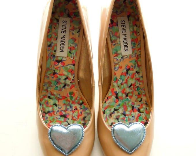 Heart shoe clips, Blue shoe clips, Sandal clips, Something blue shoe clips, Queen of hearts shoe clips, Heart shoe clips, Bridal shoe clips