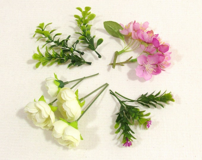 Artificial flowers white and pink Fake flowers with 2 types of greens Faux flowers DIY flower crafts flower wreaths flower crowns