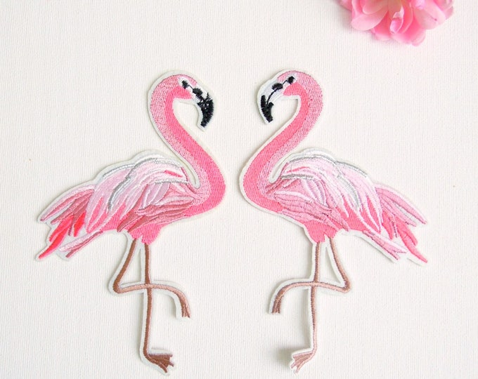 2 pcs Large Pink Flamingo iron on patches set, Iron on facing flamingo patches, Iron on appliques pink flamingos, Tropical summer patches
