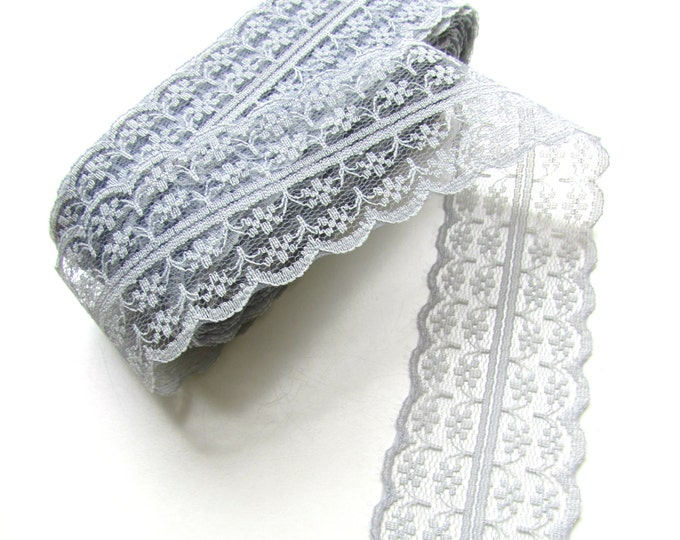 2.5 yds GREY lace - Grey synthetic lace ribbon - Gray lace ribbon - 45 mm Wide grey ribbon - Shabby grey ribbon  - Burlap lace ribbon