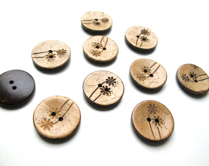 10 Coconut sewing buttons, Tropical buttons 25mm 1 inch, Palm tree buttons, Coconut shell buttons, Tropical theme buttons