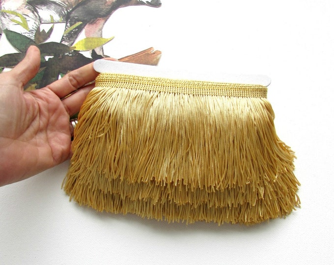 Long soft gold chainette fringe trim sold by the yard 9 cm long