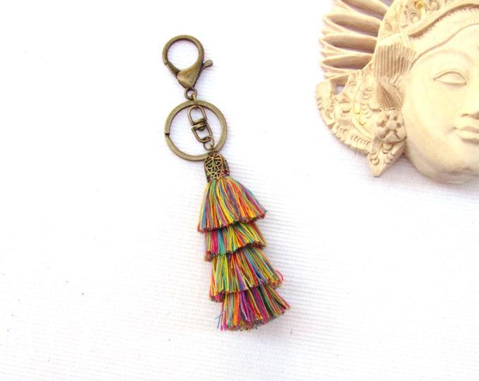 Chandelier tassel keychain with large fob, Tassel keychain, Handmade keychain, Bohemian triple tassel charm, Bronze keychain with XL clasp