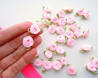 Ribbon flowers etsy 25 blush pink small ribbon roses satin ribbon roses pink ribbon roses sew on flowers small pink ribbon flowers pink flower appliques mightylinksfo