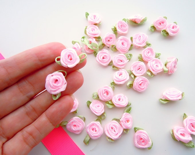 25 blush pink small ribbon roses, satin ribbon roses, pink ribbon roses, sew on flowers, small pink ribbon flowers, pink flower appliques