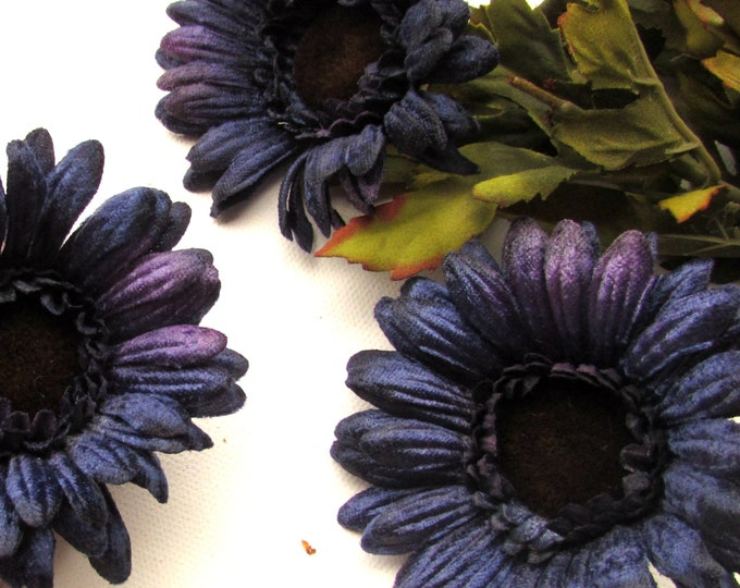 Blue artificial flowers, Daisies, Gerberas, Dark blue fake flowers for crafts, Silk blue flowers, Faux flowers, Navy blue, Millinery flowers