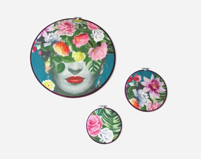 Frida Kahlo hoop wall art  Mexican wall hanging Trio of embroidery hoops  Frida Kahlo tropical wall hanging  Botanical hoop boho home decor