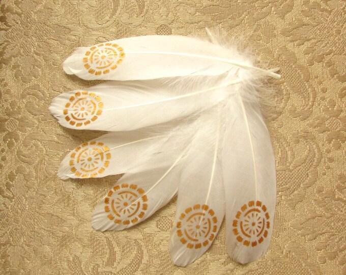 White gold painted feathers, Boho wedding feathers, Gold painted feathers, White gold feathers for dreamcatchers, Boho feathers,