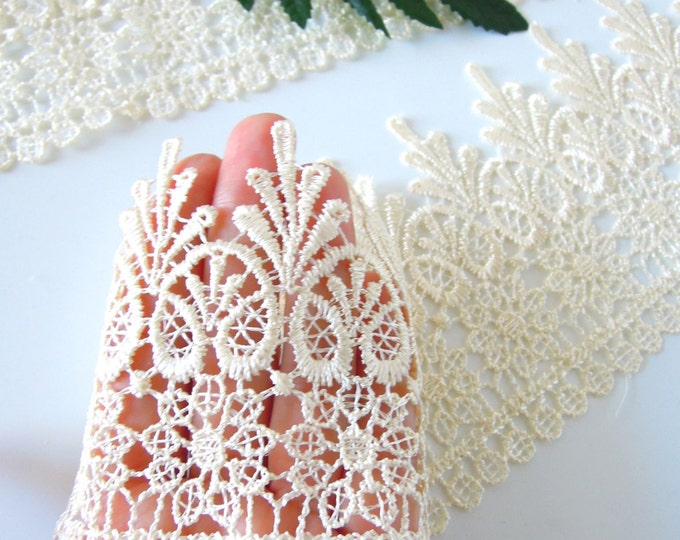 Ivory bridal lace by the yard, Cream trim, 4 inch Wide, Guipure lace for crowns, Mesh, Trimming, Edging, Beige, Wedding favors, Ecru
