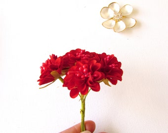 12 Small Pink Artificial Flowers With Wire Stem Etsy