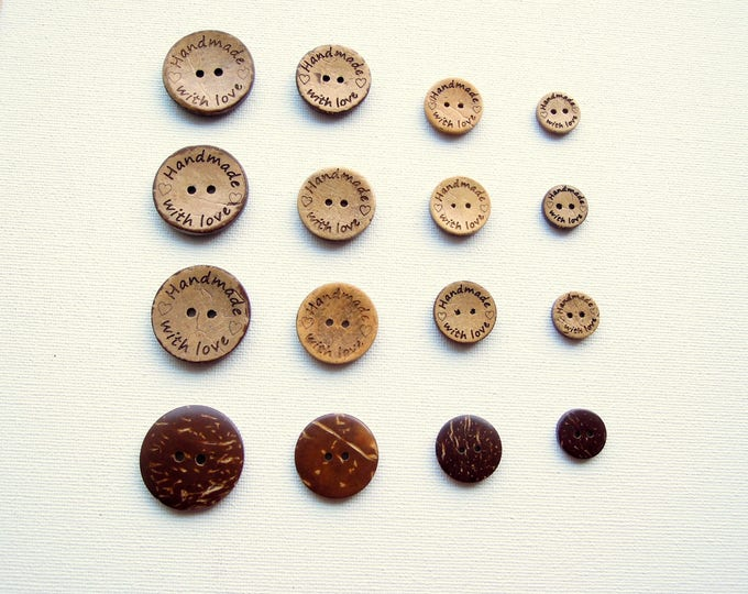 8 Handmade with Love Buttons Coconut Shell  15mm 20mm 25mm  Handmade tag buttons  Handmade buttons   Made with love buttons