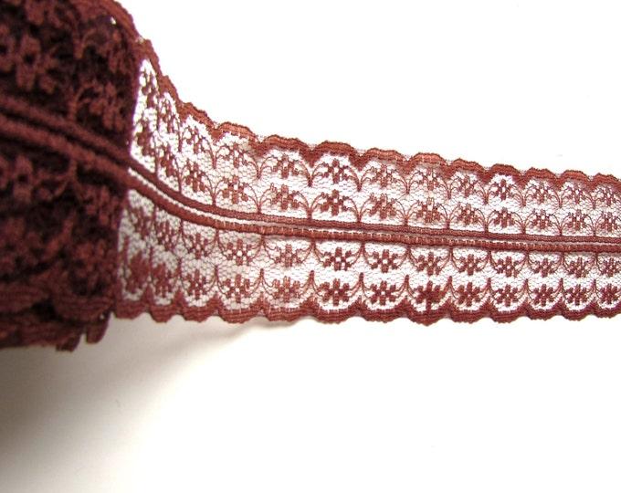 "2.5 yds Brown lace ribbon 1 3/4"" - Chocolate brown lace trim - Brown shabby lace ribbon - Dark brown lace ribbon - Burlap lace trim."