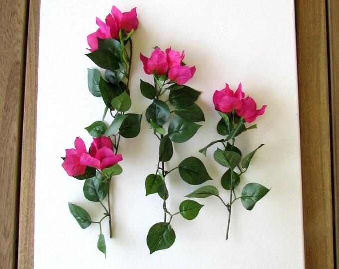 Artificial Bougainvillea flower 3 stems, Fake dark pink tropical flowers, Bougainvillea faux flowers, Fake flowers, Artificial flowers