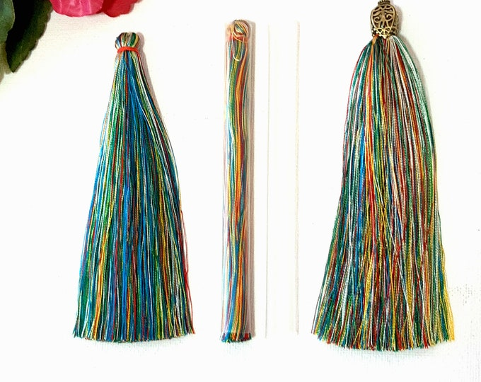 Pair of large 12 cm silky mala tassels, Multi-colour extra long tassels for earrings, necklaces and bag charms, DIY Tassel earrings
