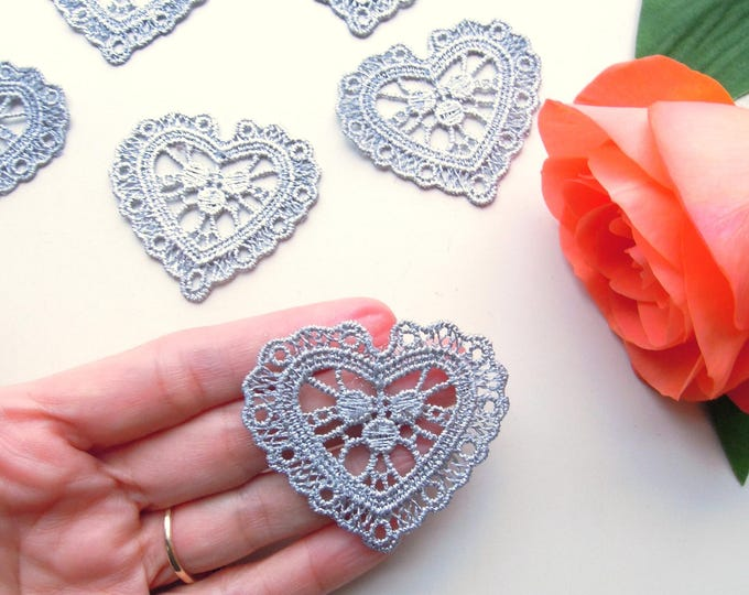 10 Silver lace heart appliques  Bridal silver lace hearts  Silver wedding heart appliques  Wedding millinery silver heart lace embellishment