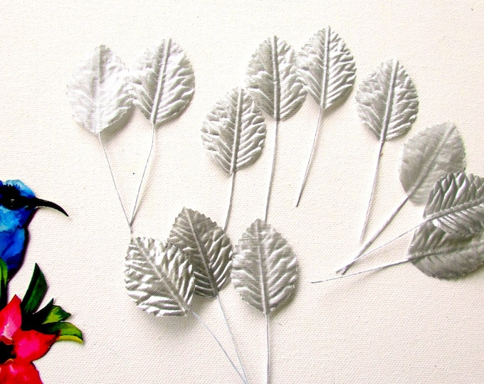 24 Silver artificial leaves 5 cm, Artificial wired leaves, Small silk metallic leaves, Wired fabric leaves, Headpieces, Christmas crafts