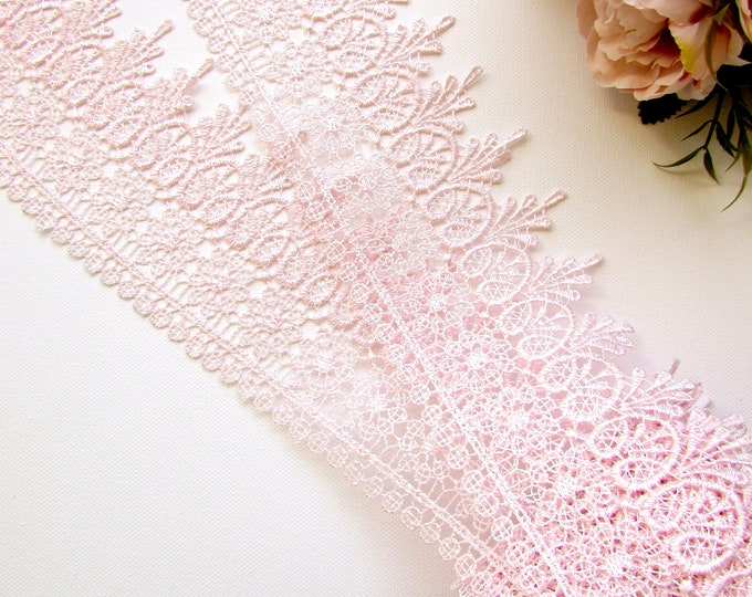 1 yrd Blush pink lace by the yard 9.5 cm wide, Guipure pastel pink lace trim, Lace crowns DIY, Lace border trimming
