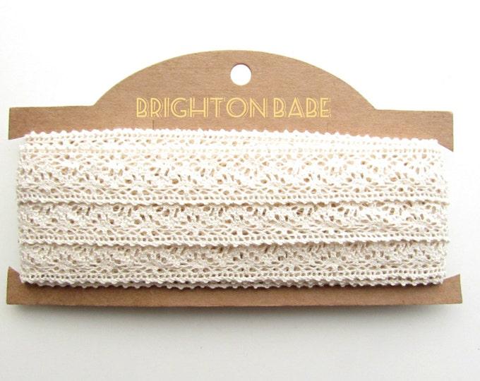 2  yds Cream cotton lace 24 mm  Cotton ribbon beige  Cotton lace trim  Cotton lace ribbon  Vintage style shabby chic lace cotton ribbon