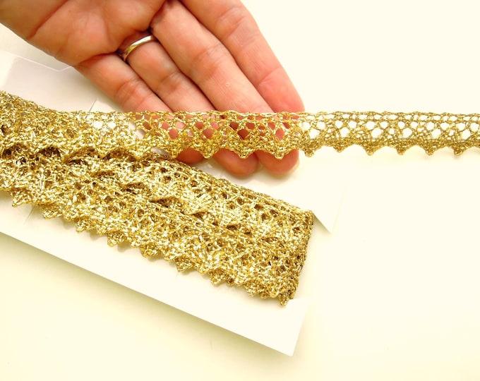 Gold trim by yard - Metallic gold picot edging - Synthetic gold trimming - Gold metallic gimp 15mm- Gold edging - Metallic border 1.5cm