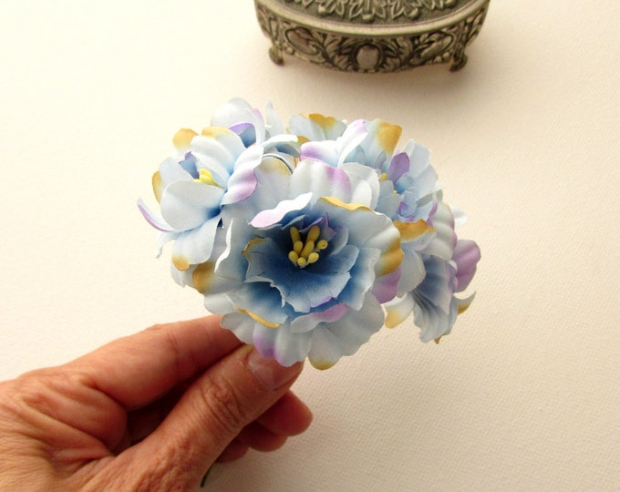 6 Small blue articial flower bouquet  Blue bi-colour weathered effect flowers  Blue fabric vintage style flowers  Small blue flowers