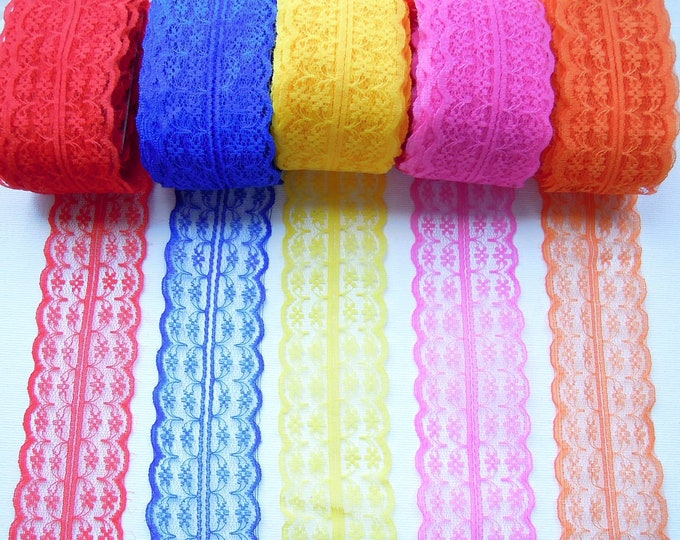 5 yds Burlap lace ribbon 45 mm wide, Bright color mesh trim, Burlap ribbon for crafts and decoration, Yellow, Blue, Pink, Red, Orange