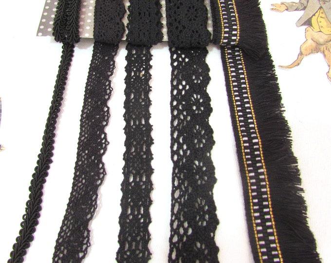 5 yds Black trim remnants, Black fringe trim cotton lace snippets, Black lace mixed remnants, Black lace snippets