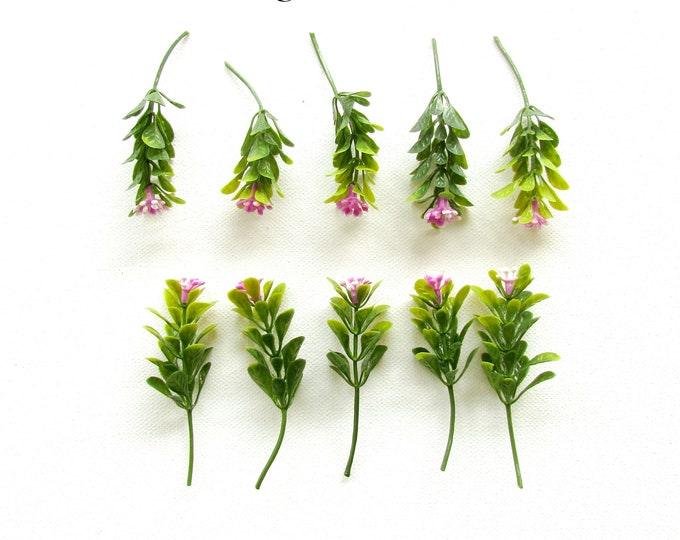 10 Artificial green leaves, Fake small twigs with little pink flowers, Fake greenery, Green fillers for artificial flower arrangements