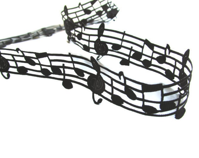5 yds Music note ribbon  Music ribbon 2D  Musical note black grosgrain ribbon  Music theme craft ribbon Black music ribbon