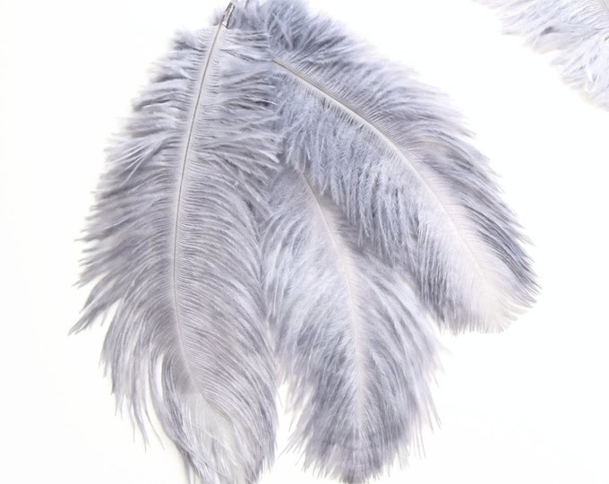 10 GREY-BLUE Ostrich feathers 5-7 inches. Gray burlesque feathers - Ostrich feathers for costumes, flower arrangements, wedding decorations