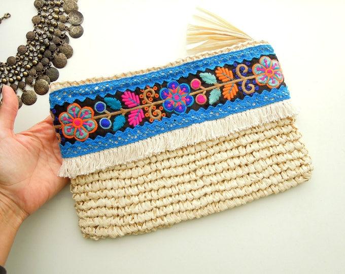 Raffia clutch bag, Summer handbag, Ethnic pouch bag, Holiday handbag, OOAK raffia pouch handbag with ethnic trims Summer straw handbag