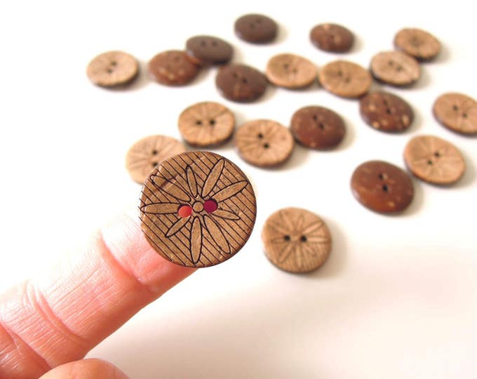 10 Coconut shell sewing buttons 18 mm - Tropical coconut buttons - Brown buttons - Boho chic buttons - Tribal buttons - Ethnic buttons