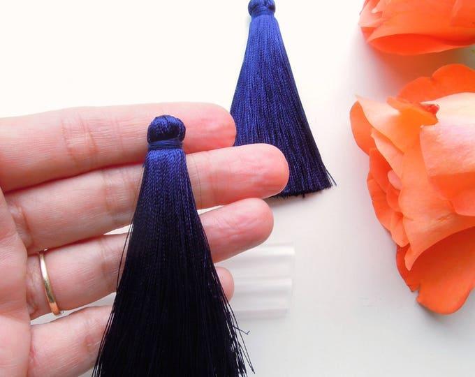 2 Navy blue 7 cm long jewellery tassels  Silky mala dark blue jewelry tassels  Long jewelry tassel earrings DIY with protective tube