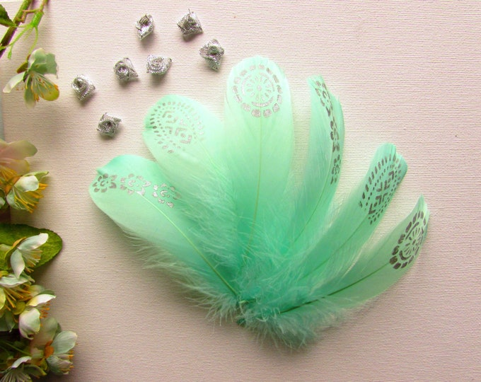 Handpainted real feathers  Silver painted feathers  Turquoise silver painted natural feathers  Boho wedding painted teal feathers