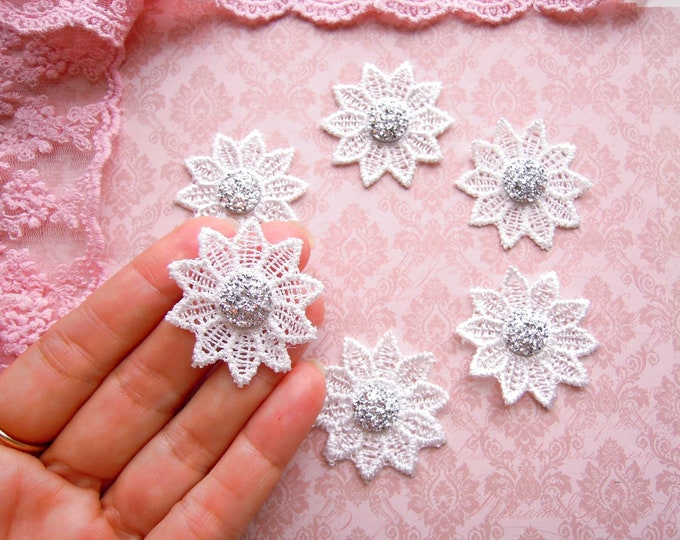 6 Lace flower appliques, Druzy fabric flowers, Shabby chic craft supplies, Jewellery findings, Wedding favors, Sparkly embellishments, Xmas