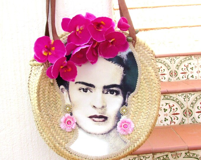 Round straw bag with shoulder straps, Frida Kahlo bag, Round basket, Woven straw bag round, Frida Kahlo round straw basket