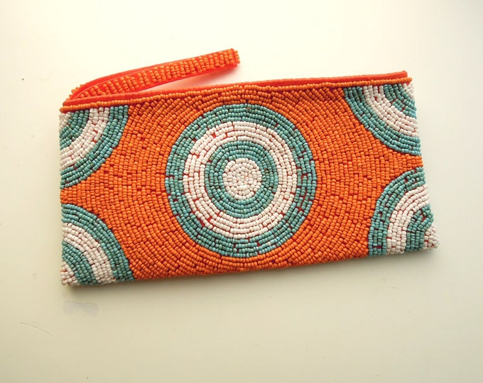 Hand Beaded Purse, Orange Teal Beaded Clutch, Makeup Travel Pouch beaded by hand in Bali, Orange wristlet pouch
