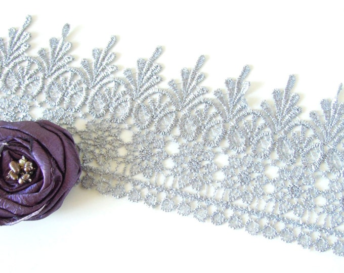 1 yrd Silver Venise lace - Wide lace for Crowns - Guipure lace - Silver wide lace -  Wide venise lace - Lace for Victorian chokers
