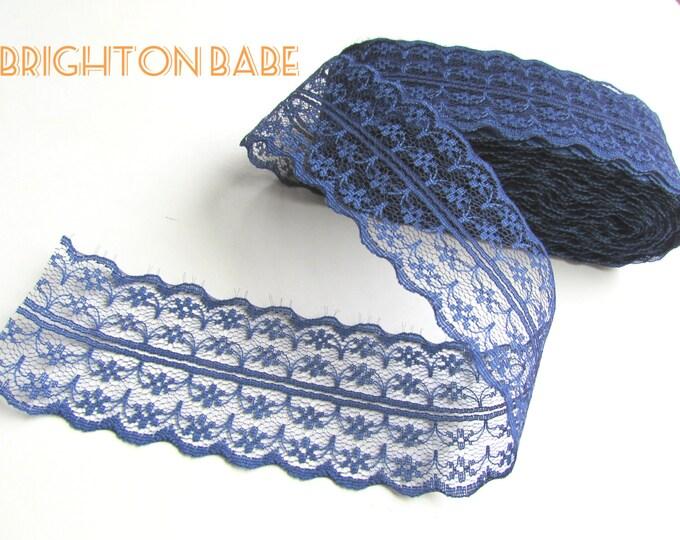 """5 yds Navy BLUE burlap lace trim 1 3/4"""" 45 mm, Dark blue lace ribbon, Blue lace ribbon, Navy blue lace trim, Blue lace reel"""